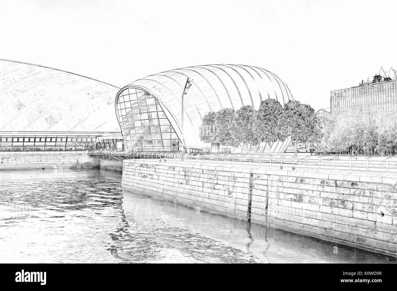 Pencil sketch of the cineworld imax at glasgow science centre on the banks of the river clyde in glasgow scotland
