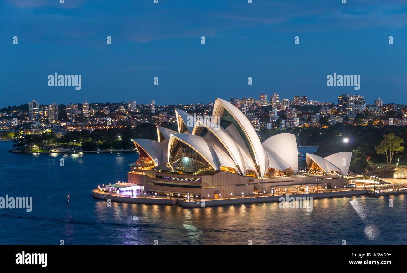 Sydney Opera House at dusk, Opera, Financial District, Banking district, Sydney, New South Wales, Australia - Stock Image