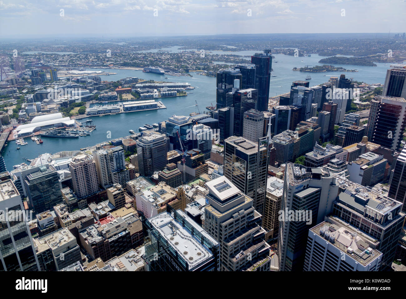 The Central Business District Aerial View From The Sydney Tower Eye Showing The Harbour And Skyline Of Sydney Australia - Stock Image