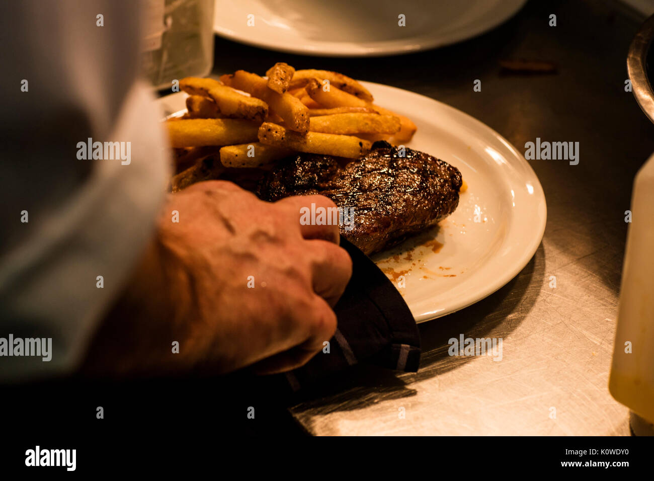 Steak and Chips Dinner at Gastropub - Stock Image