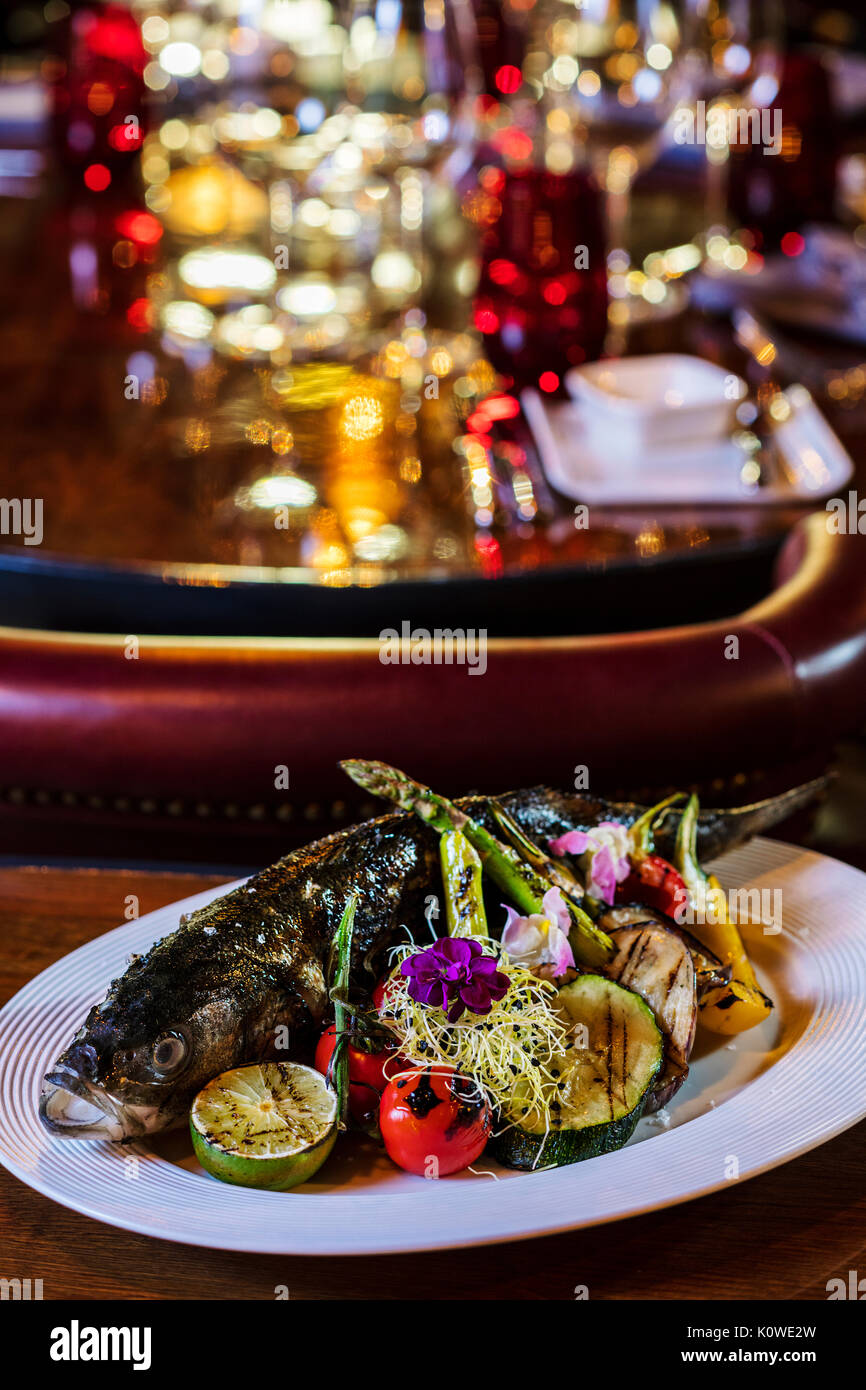 High-end fish dish - Stock Image