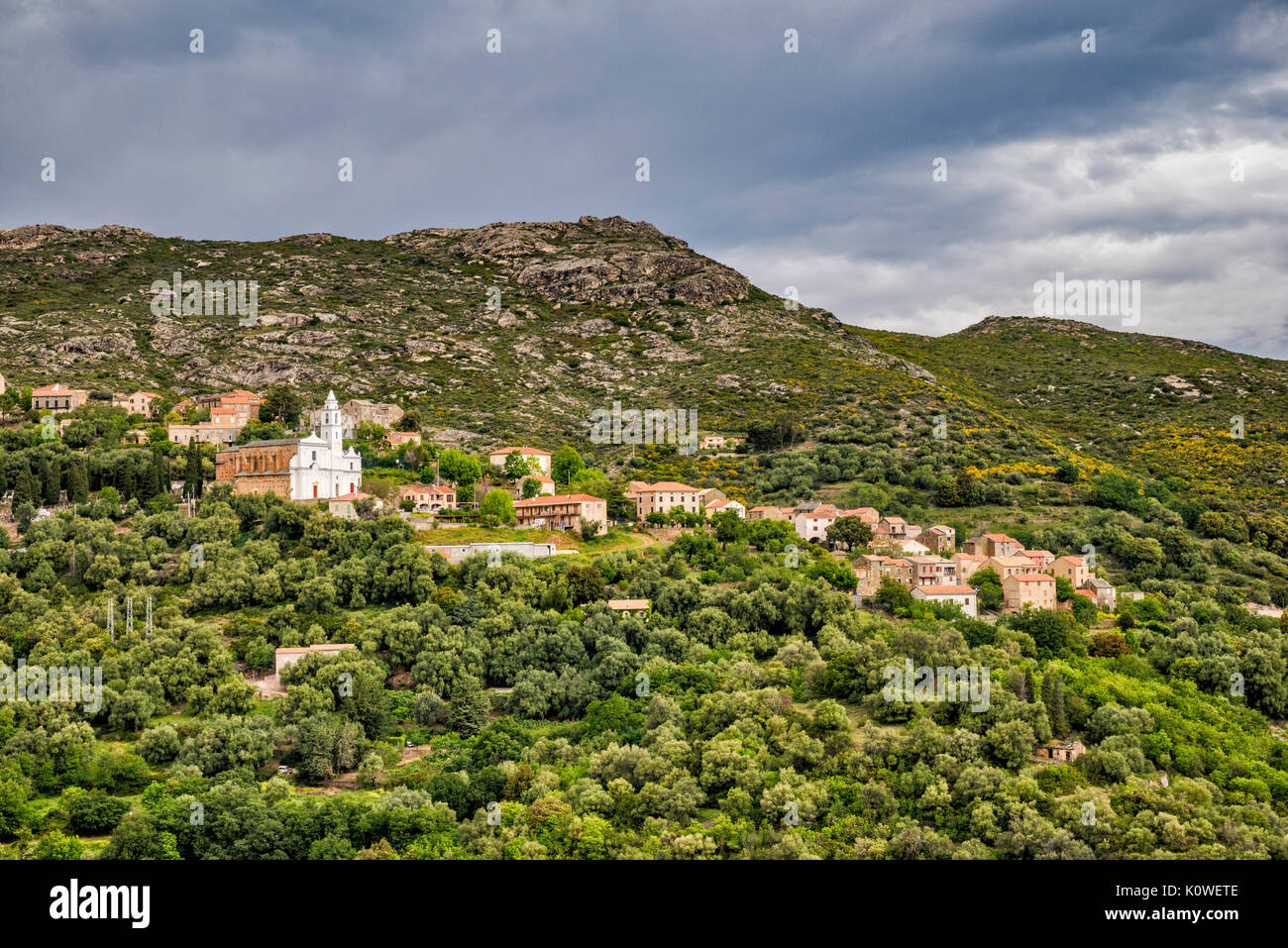 Hillside village of Santo-Pietro-di-Tenda, Nebbio region, Haute-Corse department, Corsica, France - Stock Image