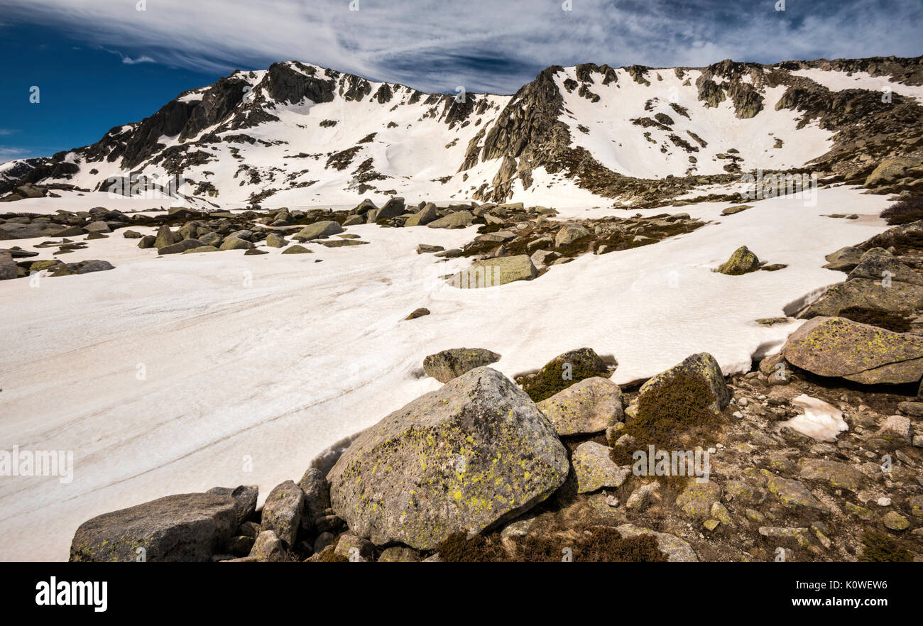 Monte Renoso summit over frozen Lac de Bastiani and snow field, in spring, GR 20 variant, Haute-Corse, Corsica, France - Stock Image
