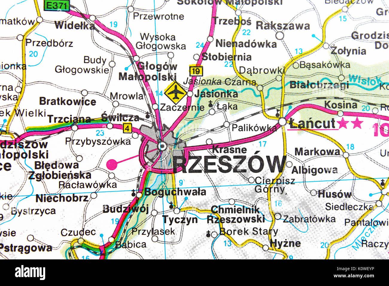 Rzeszow Map City Map Road Map Stock Photo 155453866 Alamy