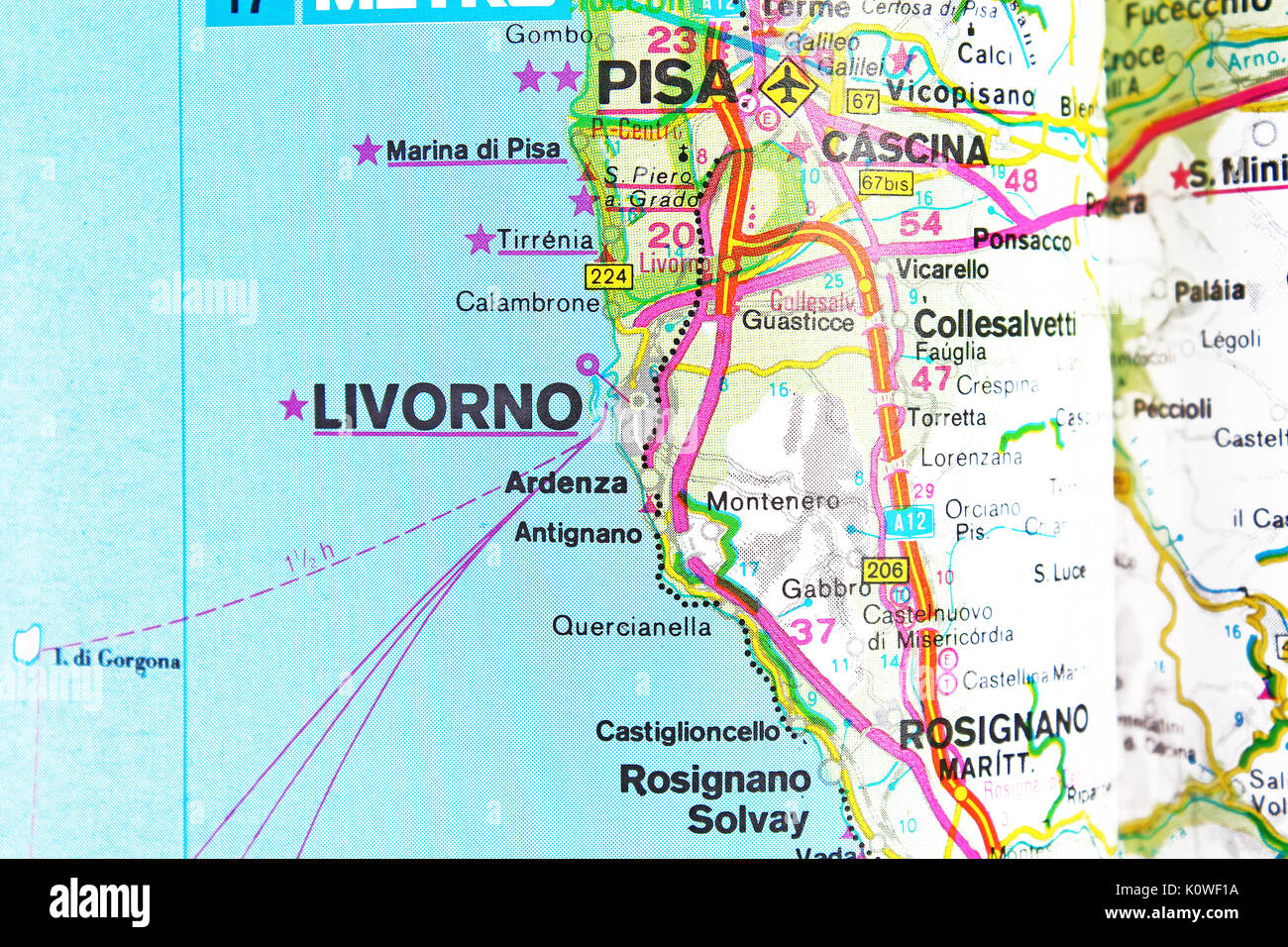 Livorno Cartina.Livorno Map Stock Photos Livorno Map Stock Images Alamy