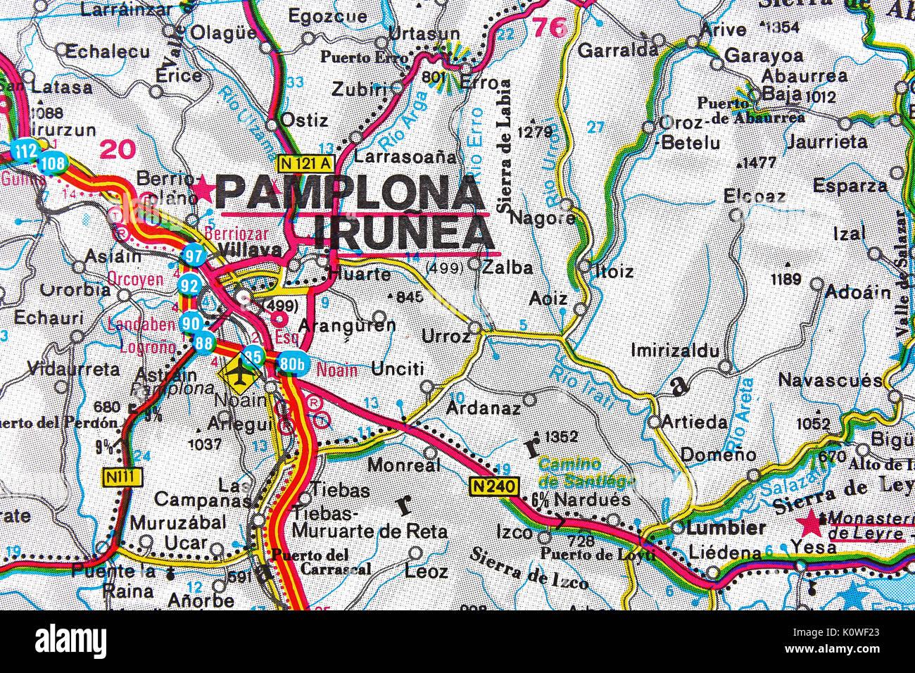 Pamplona Irunea map city map road map. Stock Photo