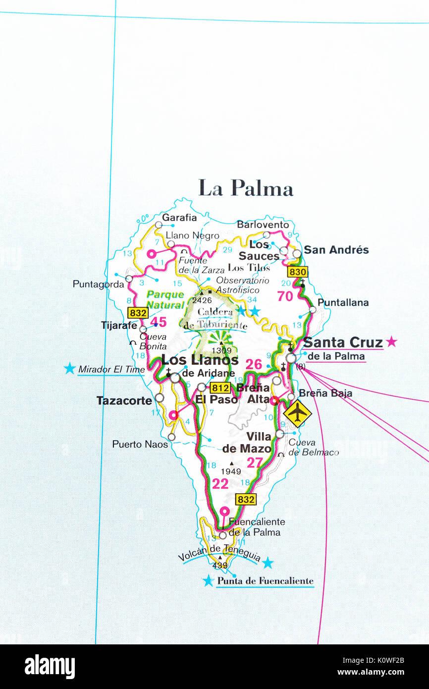 La Palma map city map road map Stock Photo 155453939 Alamy