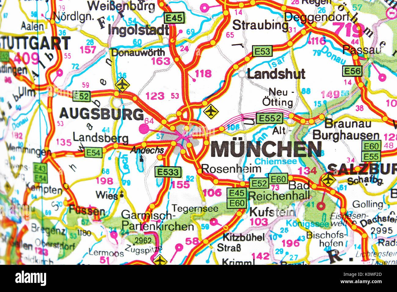 München Munich Munchen map city map road map Stock Photo ...