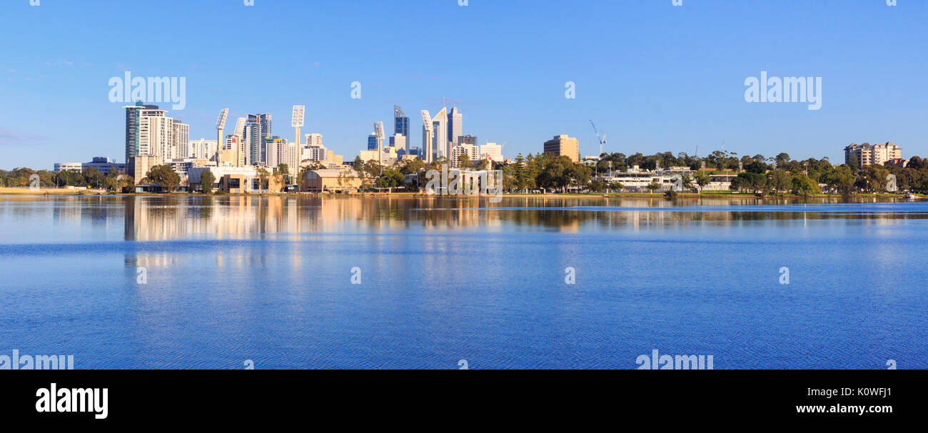 East Perth skyline and the Swan River. As viewed from Burswood. Perth, Western Australia - Stock Image