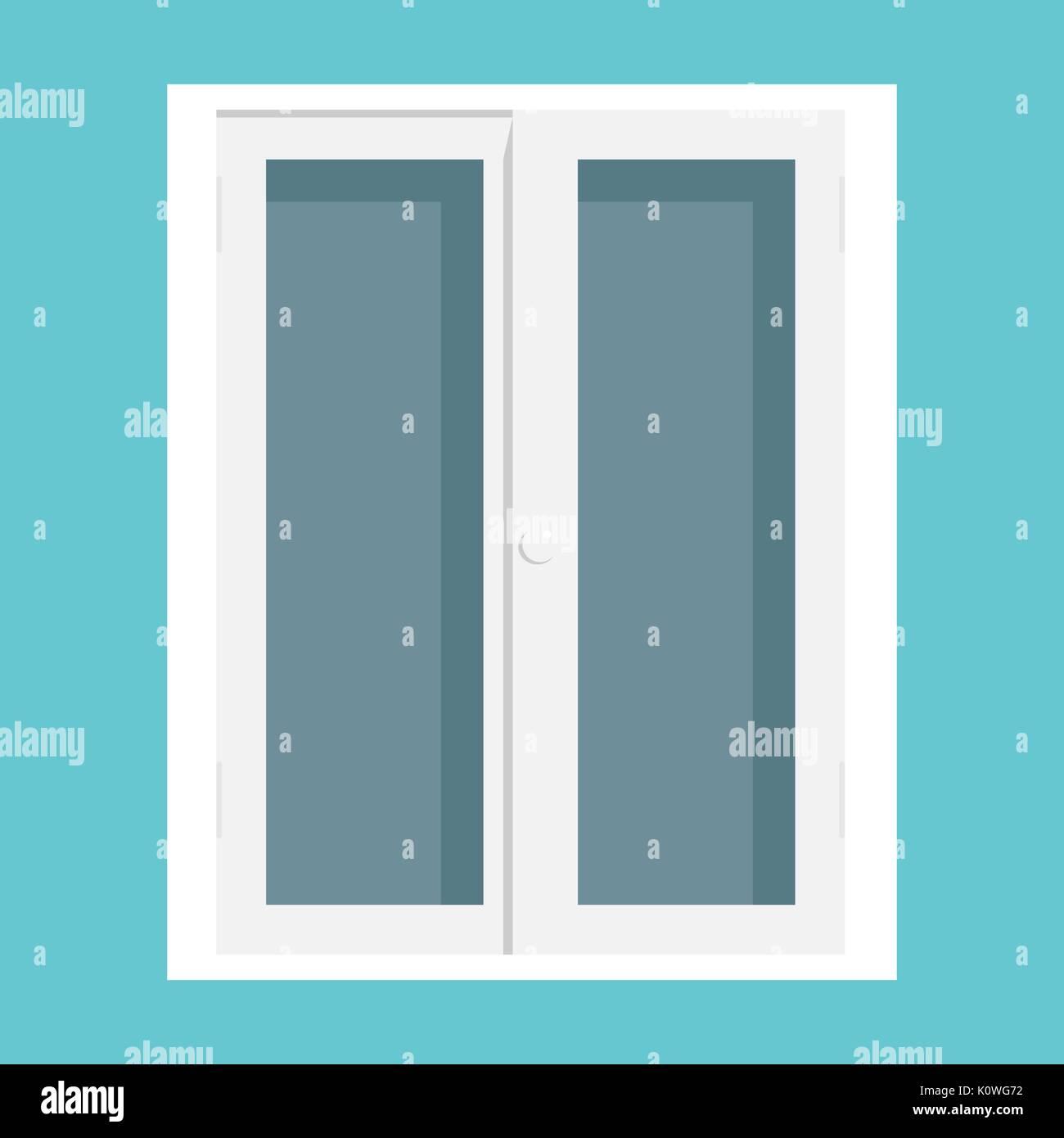 Closed Glass Front Door House Exterior Entranceflat Design Vector