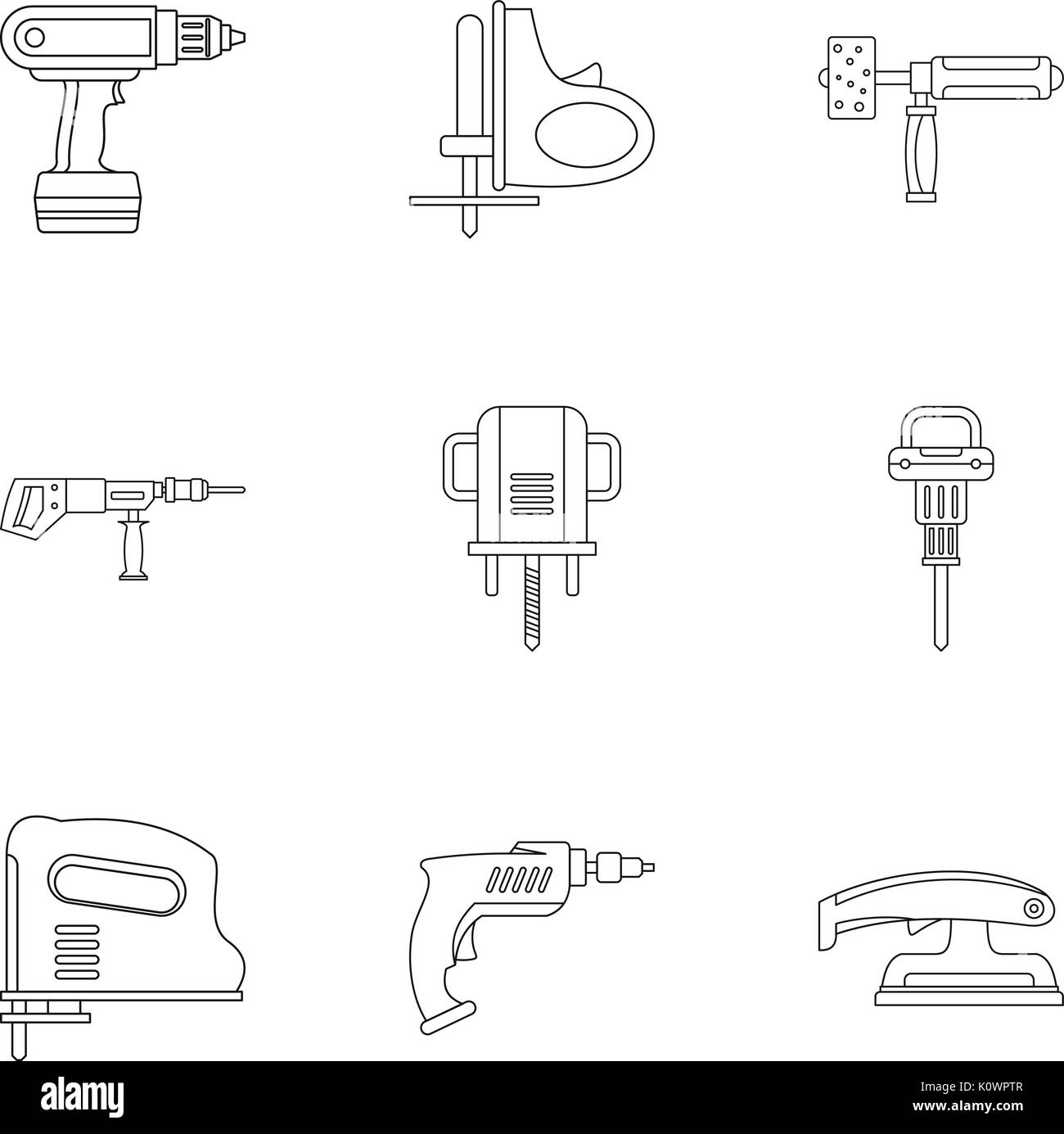 House electric tool icon set, outline style - Stock Image