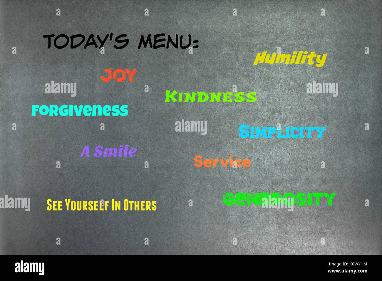 Word collage placed onto a chalkboard texture background.  Graphic Design. - Stock Image