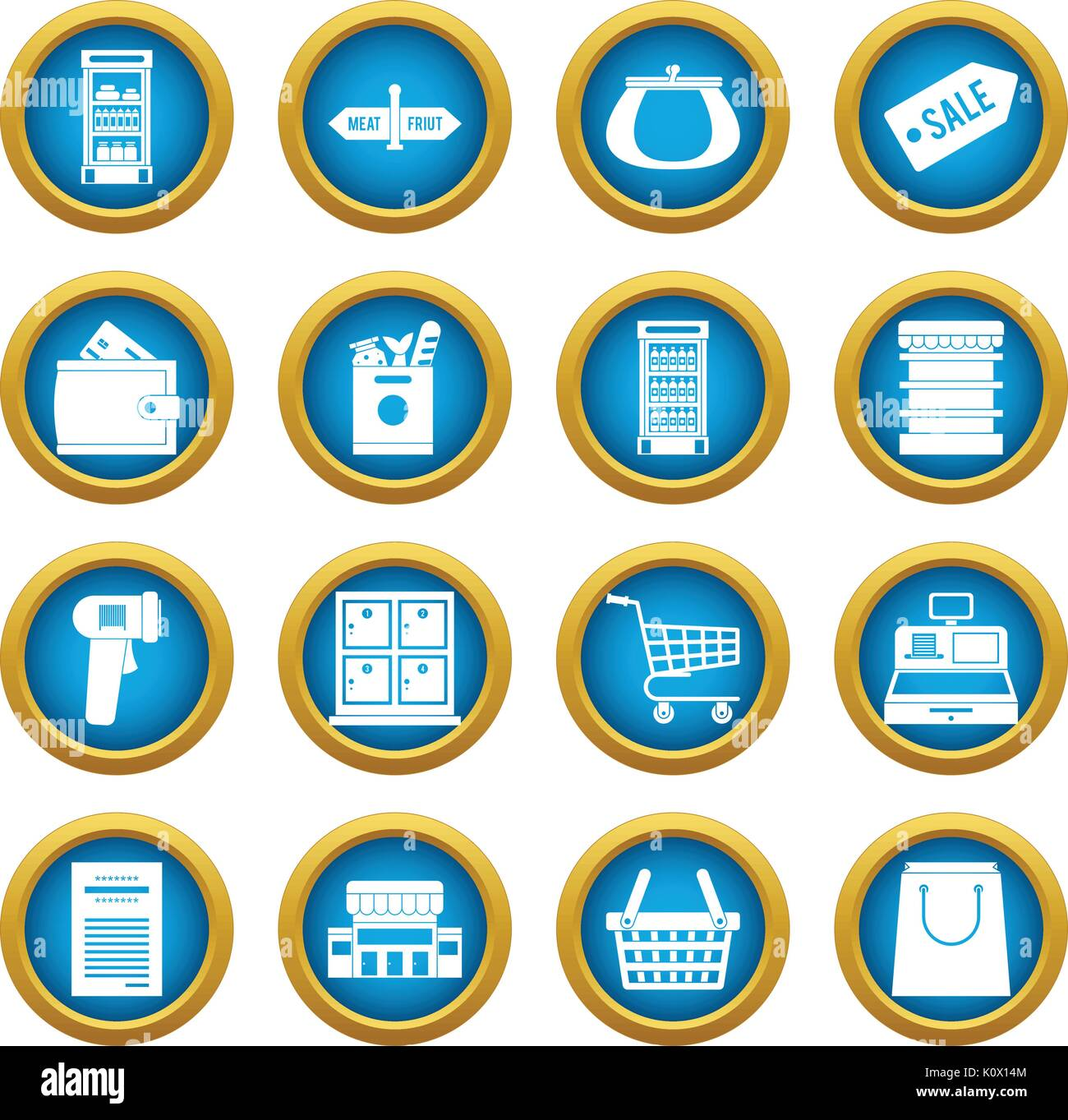 Supermarket icons blue circle set - Stock Vector