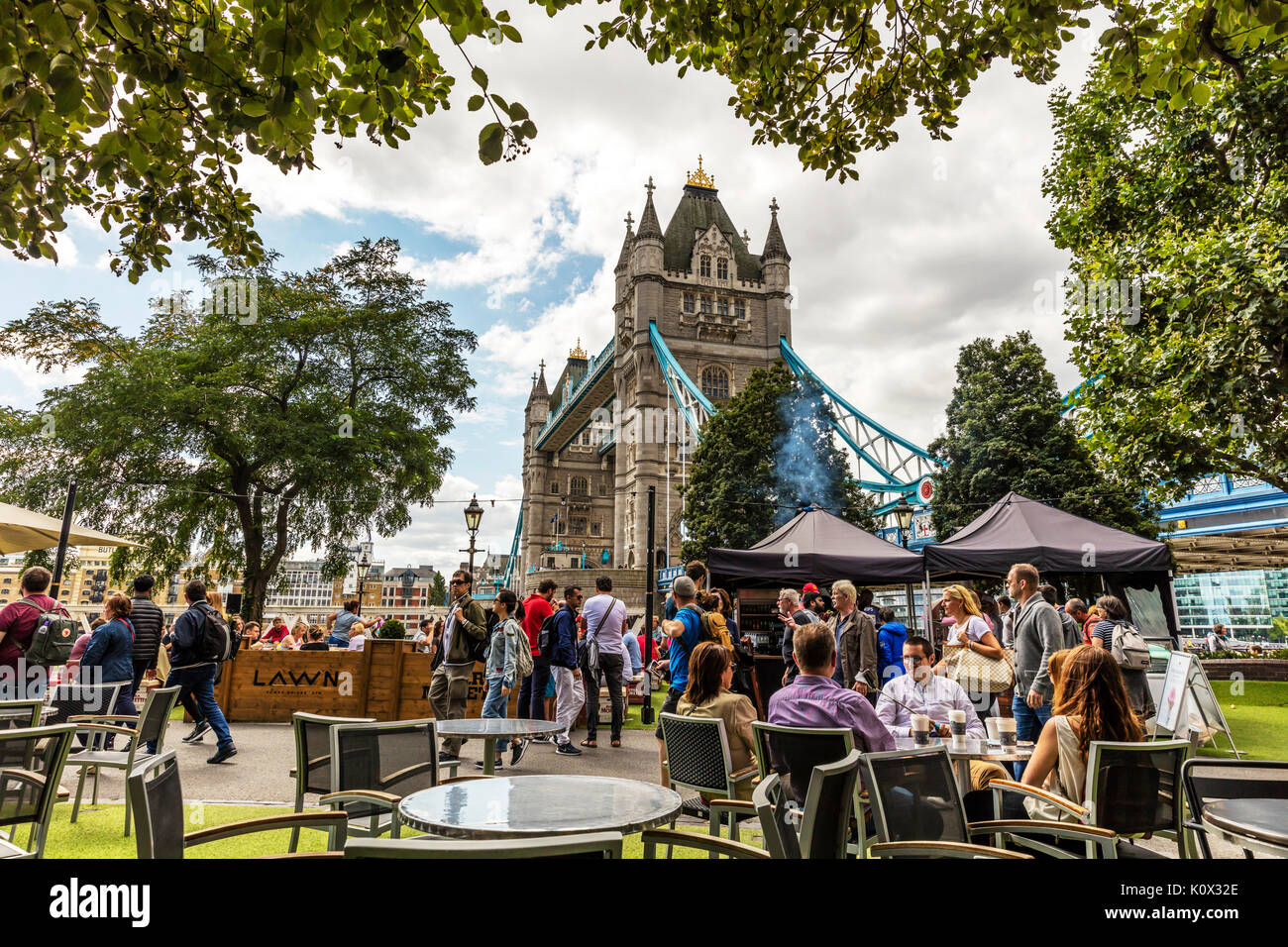 Tower bridge London, London Tower Bridge, eating outside in London, London UK England, London city UK, Tower bridge, Tower bridge London city UK - Stock Image