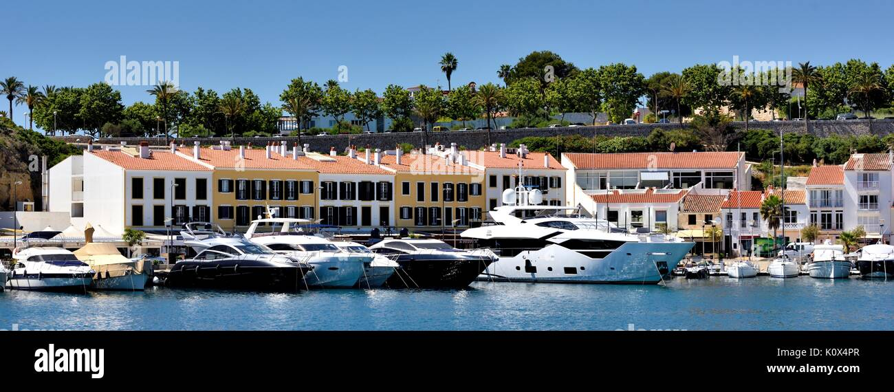 Mahon marina seafront Menorca Minorca Spain Stock Photo