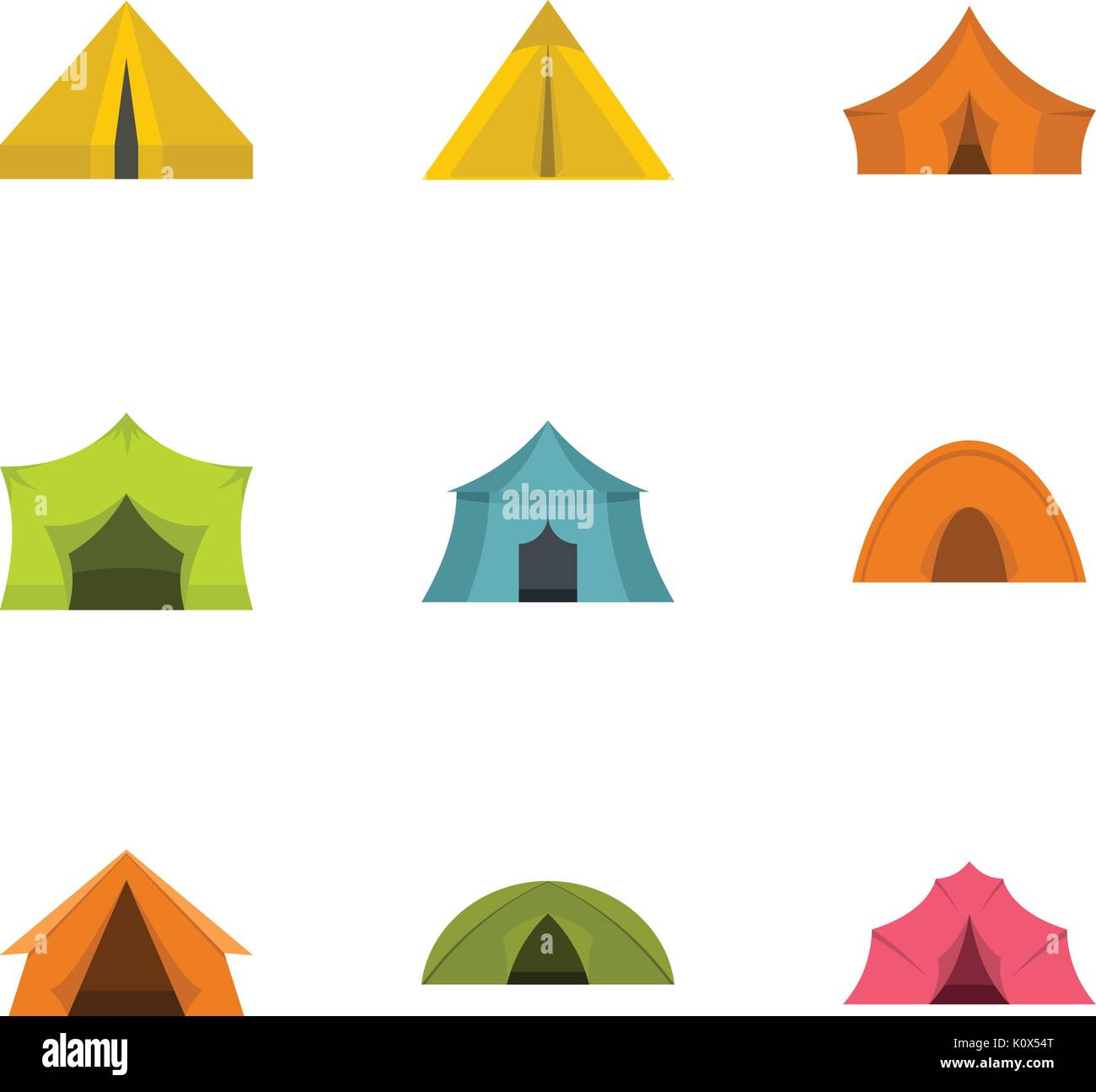 Tent form icon set, flat style Stock Vector Art & Illustration
