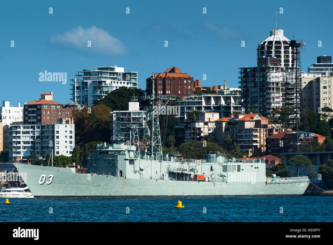 Warship HMAS Sydney at Garden Island Naval base, Potts Point, Sydney, Australia. - Stock Image