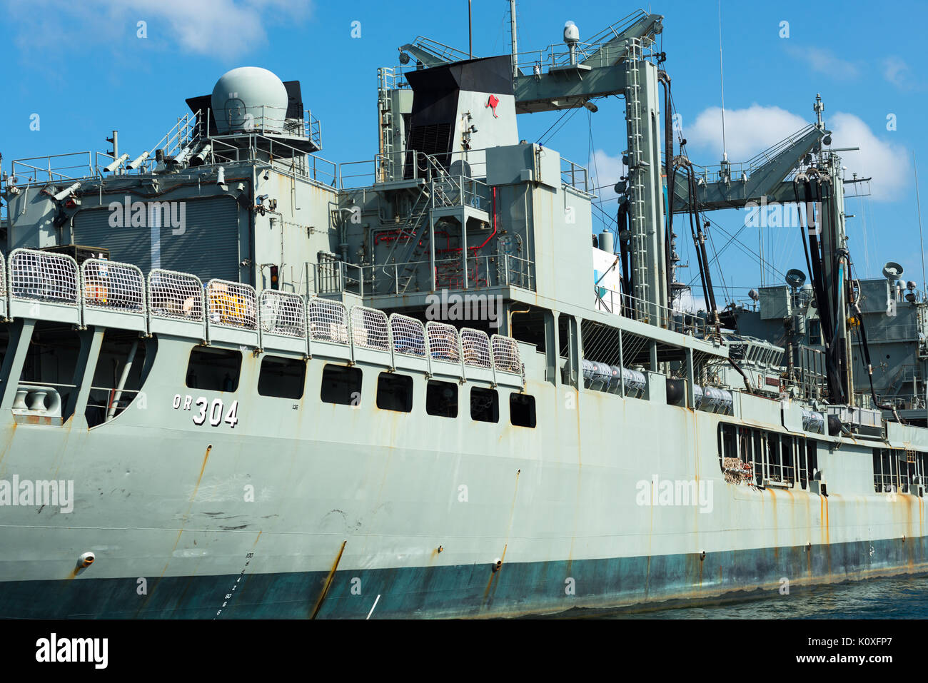 Warships at Warship mooring at Fleet Base East, major bases of the Royal Australian Navy (RAN) on Garden Island (HMAS Kuttabul),Sydney, Australia, - Stock Image