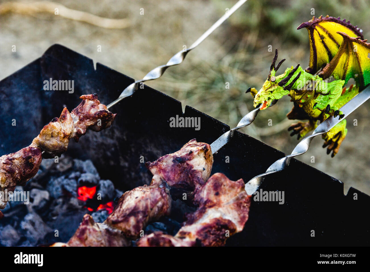 green dragon is cook roasted meat - Stock Image