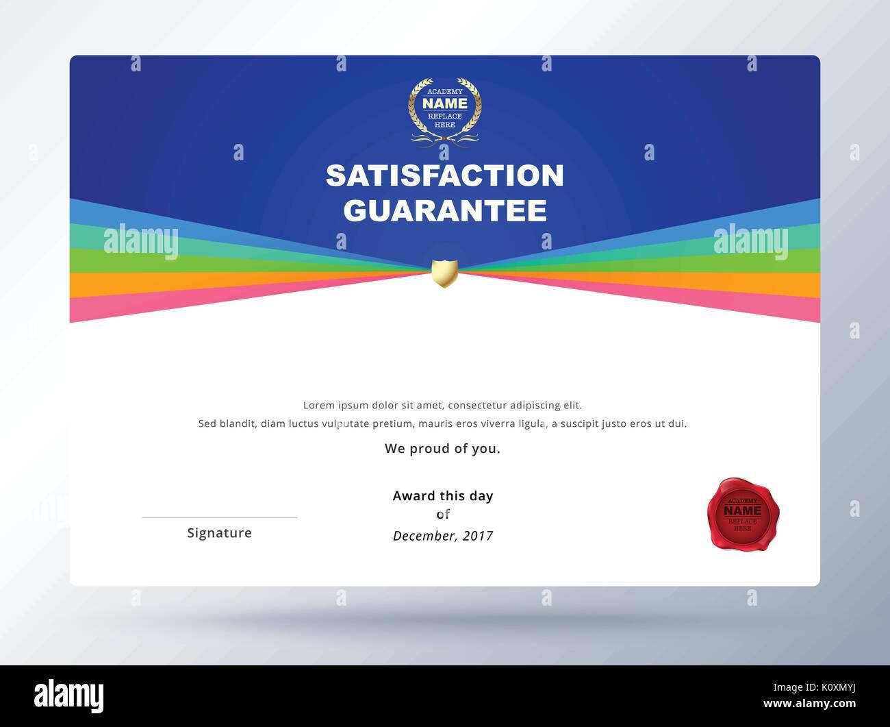 Satisfaction guarantee template design with simple concept stock satisfaction guarantee template design with simple concept certificate template design yelopaper Choice Image