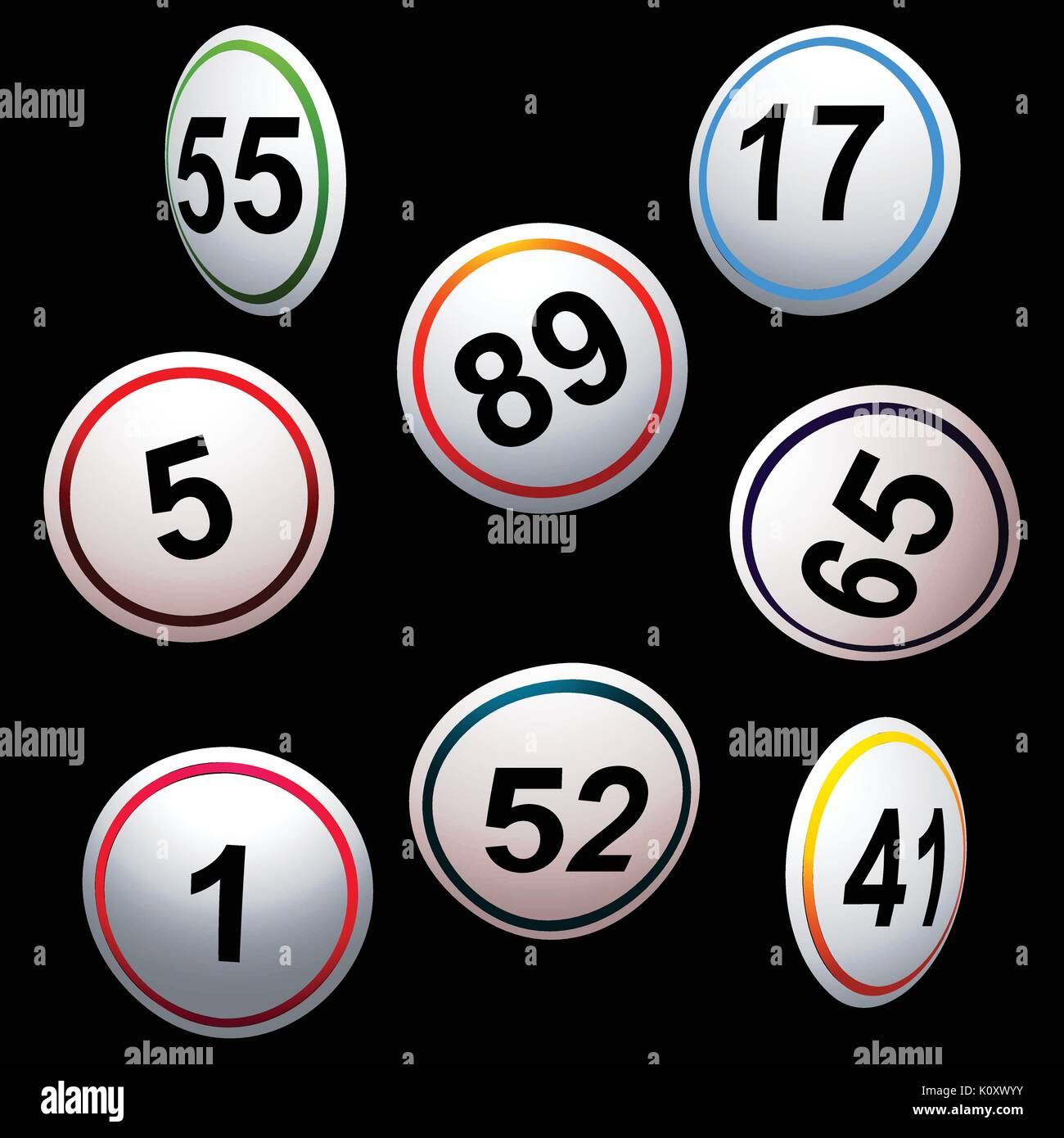 3D Illustration of Curved Bingo Lottery Numbers in Different