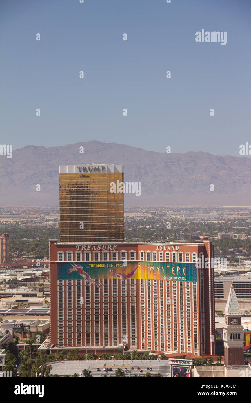 View of Trump Tower from the Paris Las Vegas tower Stock Photo