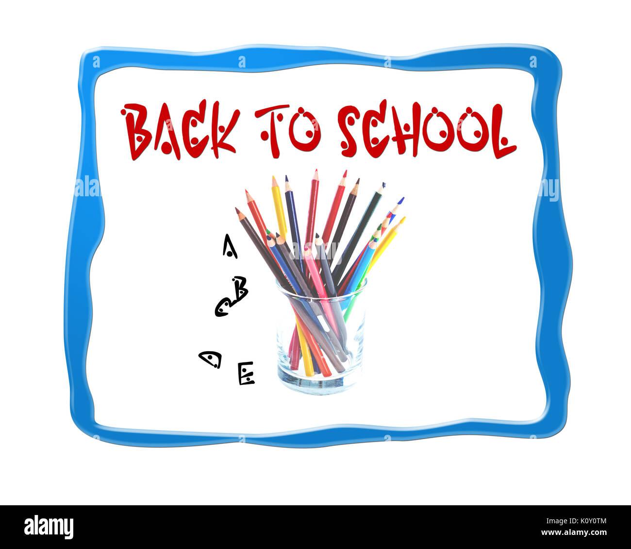 Back to school logo background image - Stock Image
