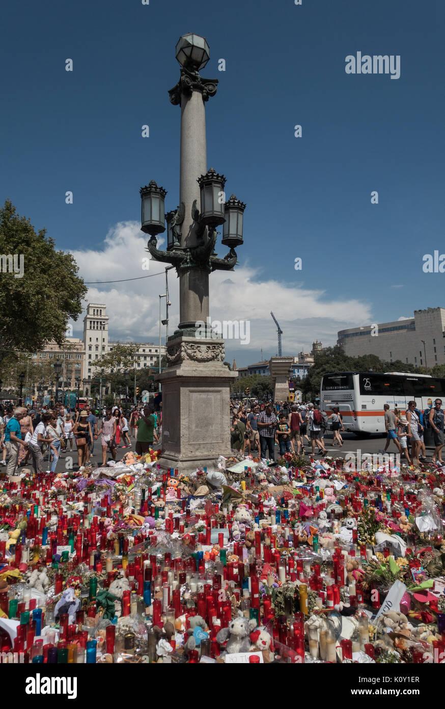 Memorial for victims of terror attacks in Las Ramblas in Barcelona,piety place,candles,terrorist attack Stock Photo