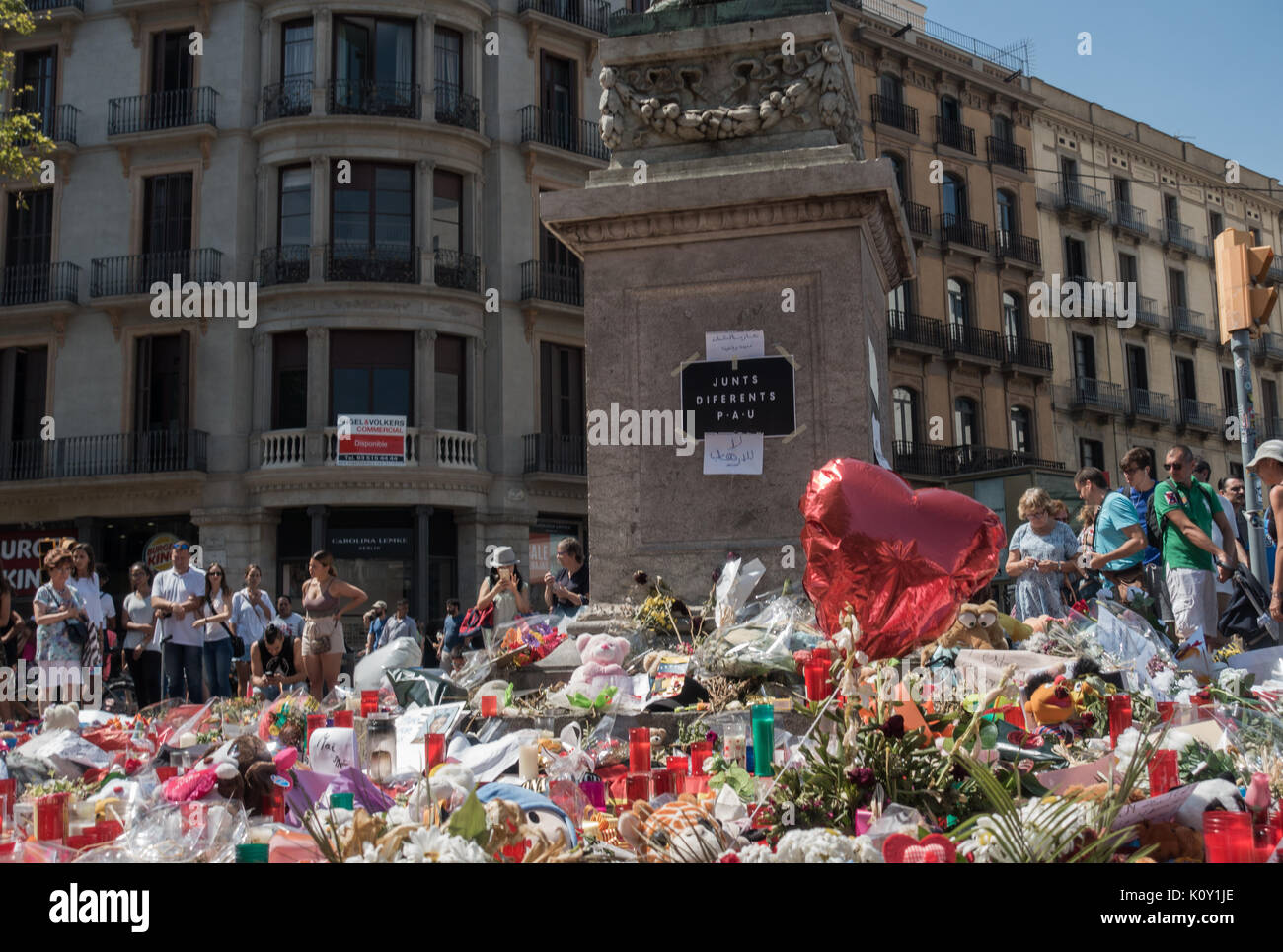 Memorial for victims of terror attacks in Las Ramblas in Barcelona,piety place,candles,terrorist attack Stock Photo