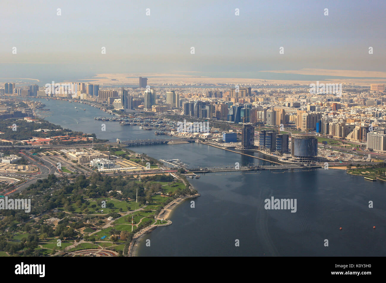 Dubai The Creek Floating Bridge aerial view photography UAE - Stock Image