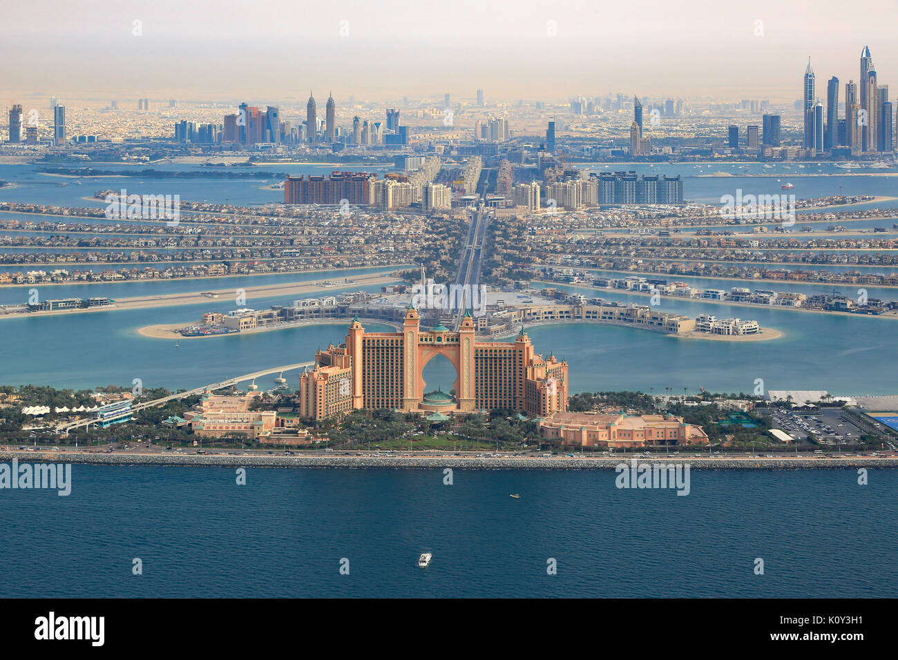 Dubai Atlantis Hotel The Palm Jumeirah Island aerial view photography UAE - Stock Image