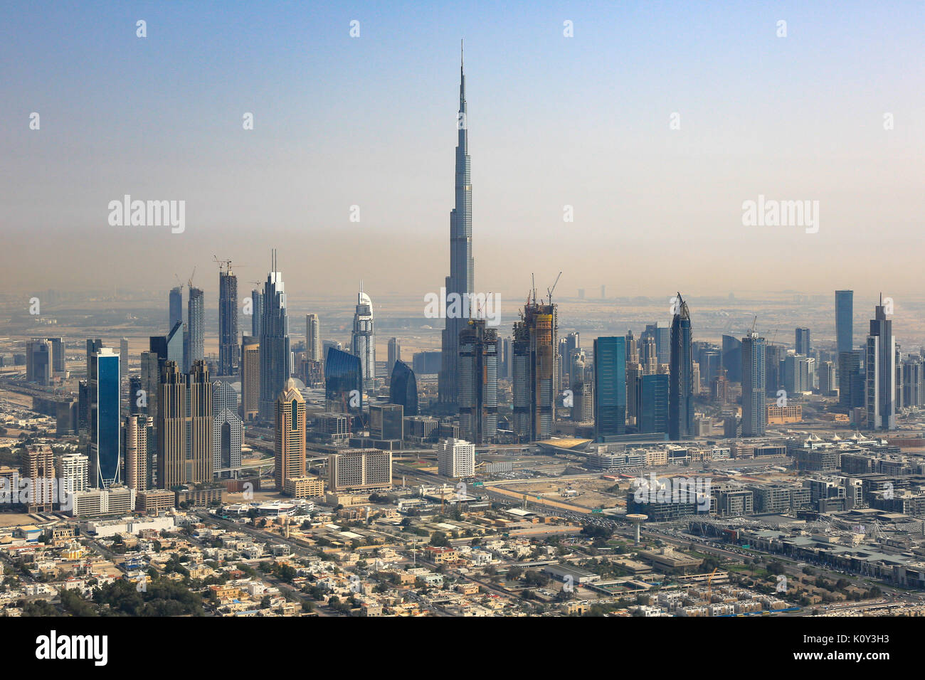 Dubai skyline Burj Khalifa Downtown aerial view photography UAE - Stock Image