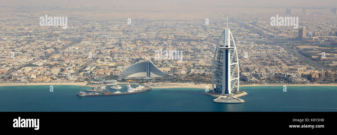 Dubai Burj Al Arab Hotel panorama panoramic aerial view photography UAE - Stock Image