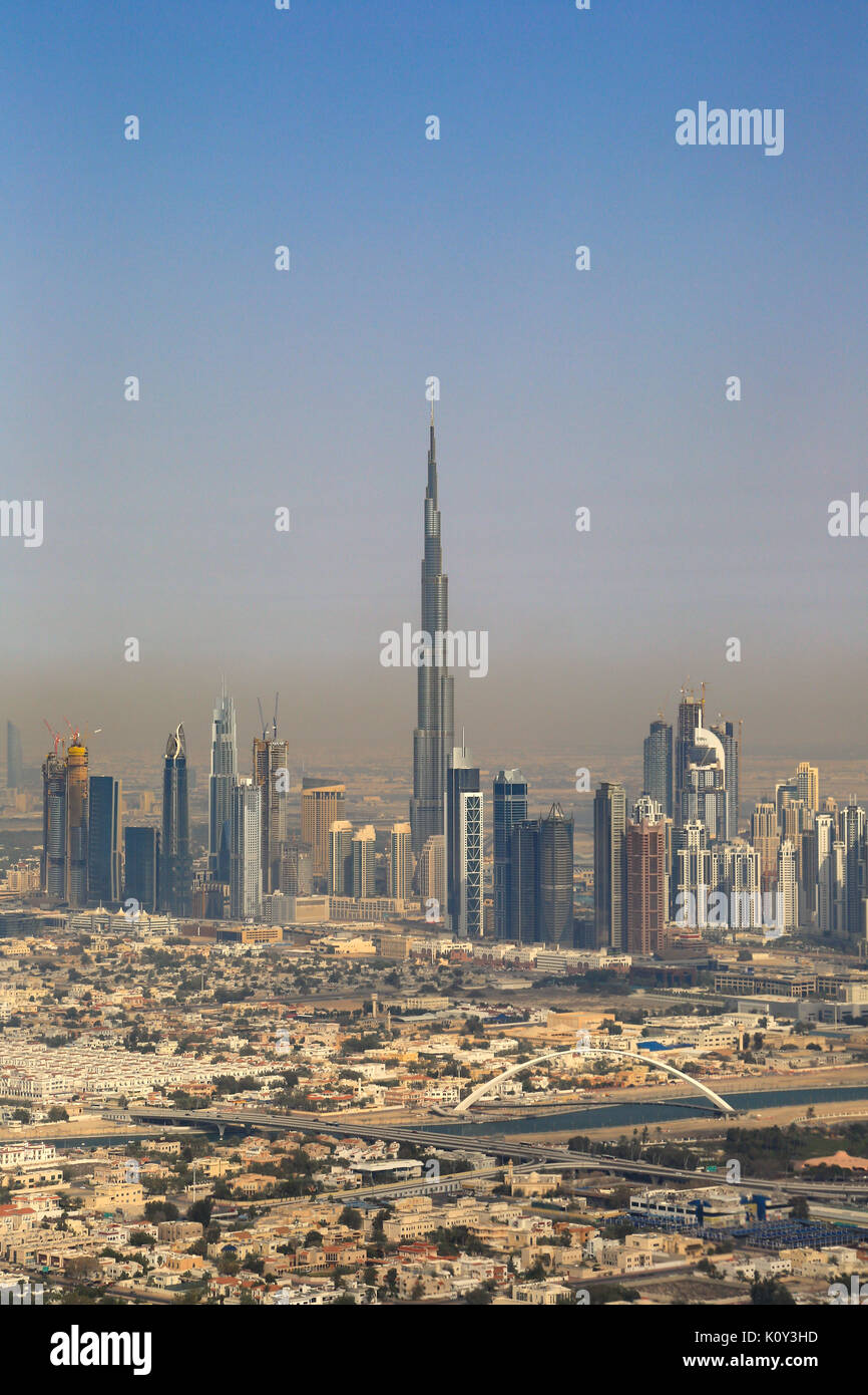 Dubai Burj Khalifa building Downtown copyspace vertical portrait aerial view photography UAE - Stock Image