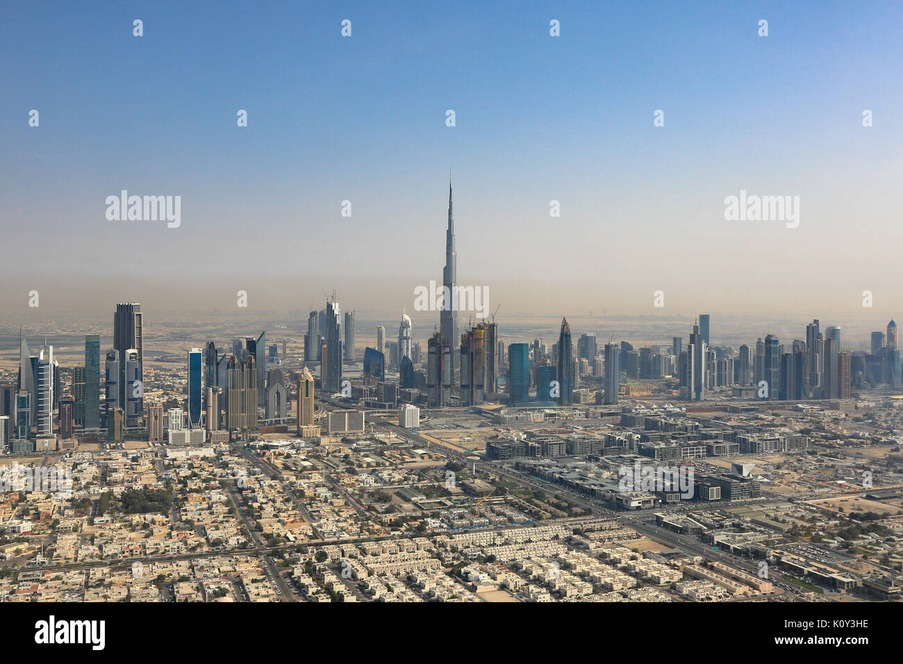 Dubai Burj Khalifa skyscraper aerial view photography UAE Stock Photo