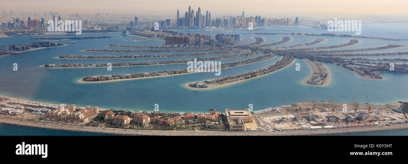 Dubai The Palm Jumeirah Island panorama Marina aerial panoramic view photography UAE - Stock Image