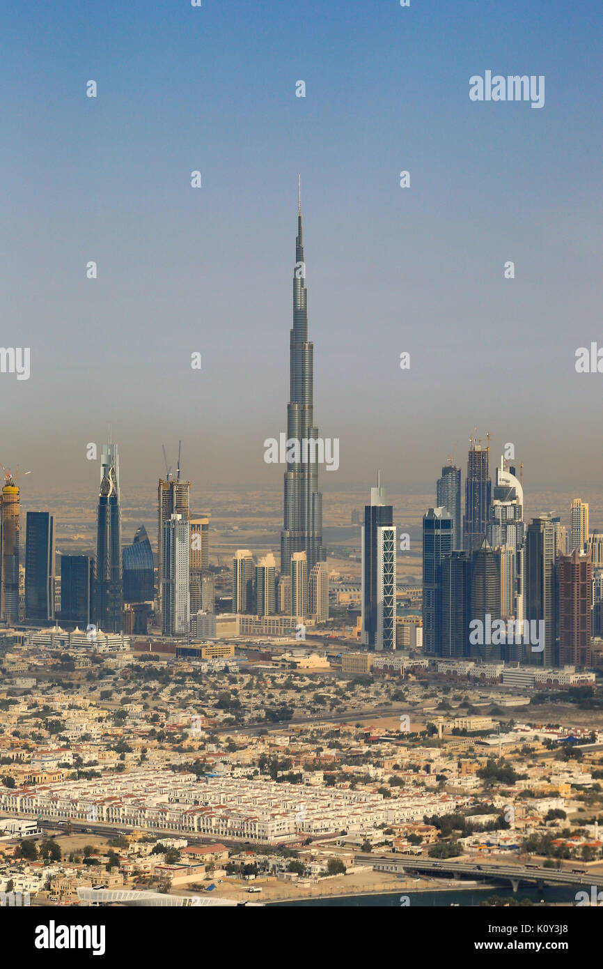 Dubai Burj Khalifa vertical aerial view photography UAE - Stock Image