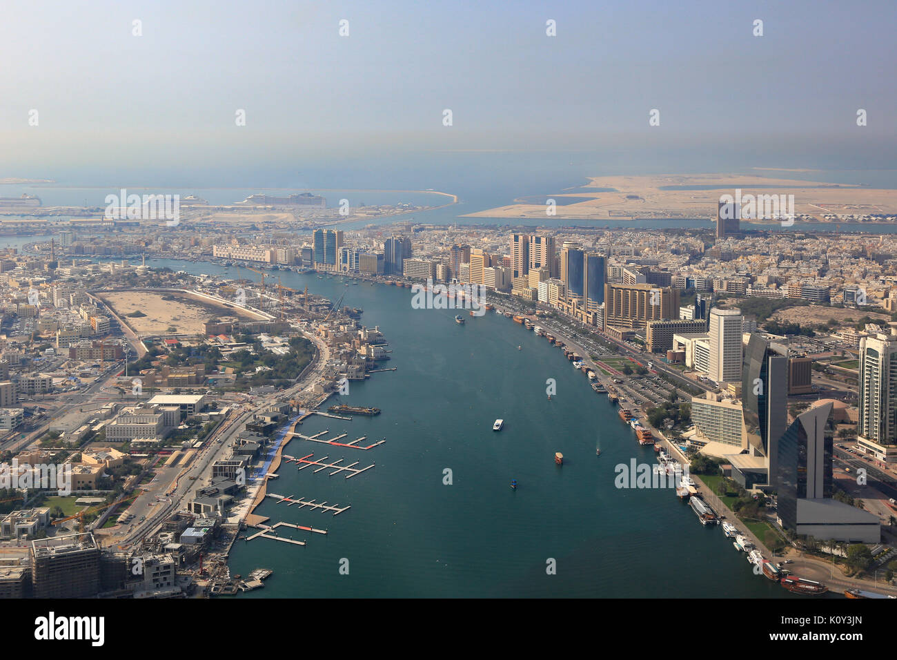 Dubai The Creek delta aerial view photography UAE - Stock Image