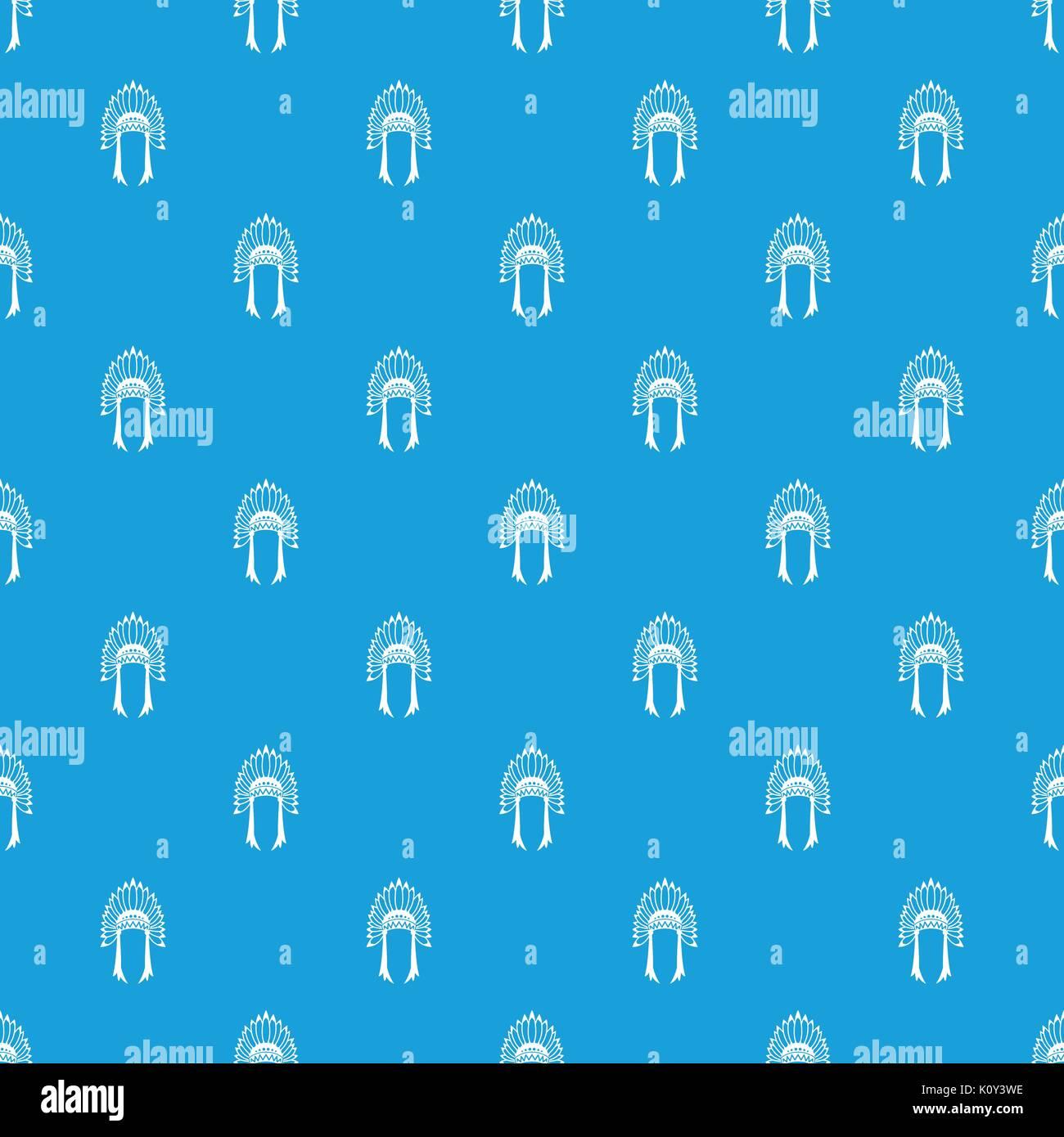 Indian headdress pattern seamless blue - Stock Image