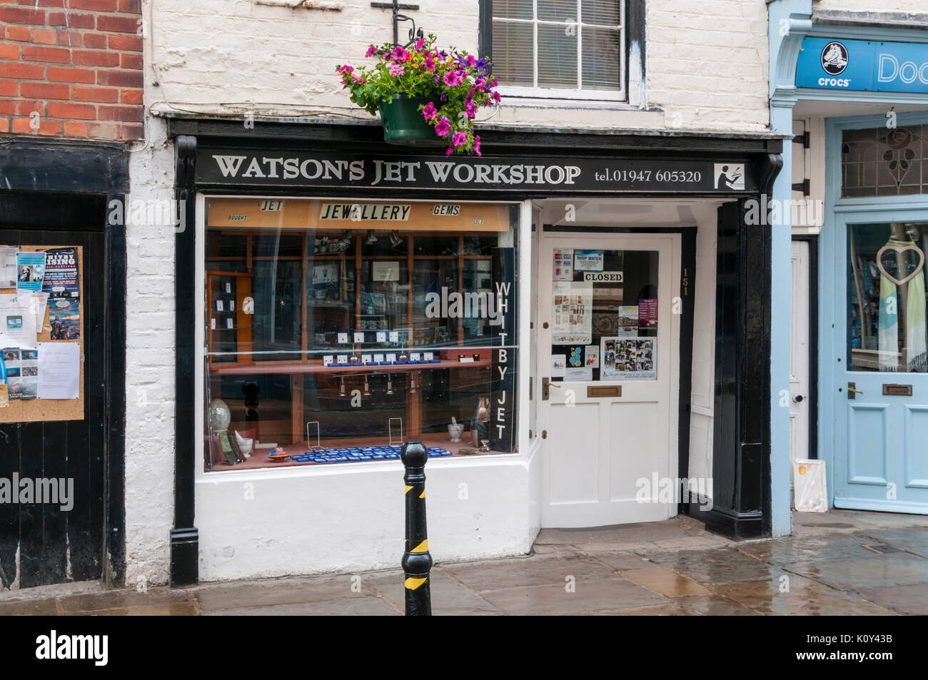 Watsons Jet Workshop, a traditional maker of jet jewellery in Whitby, North Yorkshire. - Stock Image