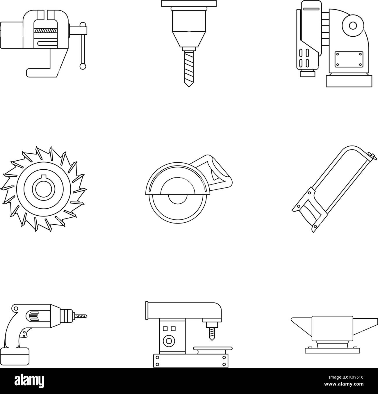 Metal processing tool icon set, outline style - Stock Image