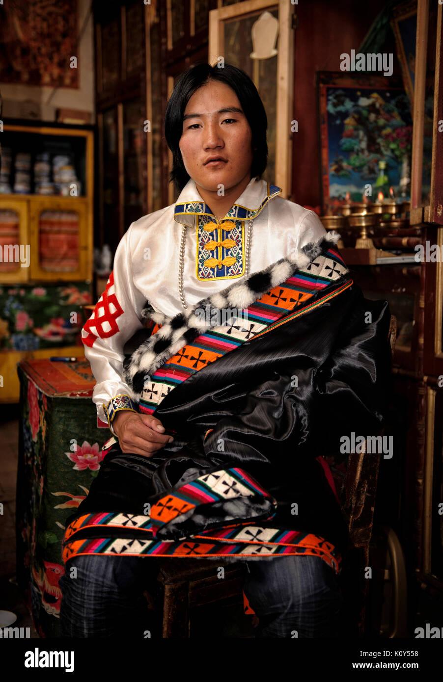A Tibetan groom before his wedding. Stock Photo