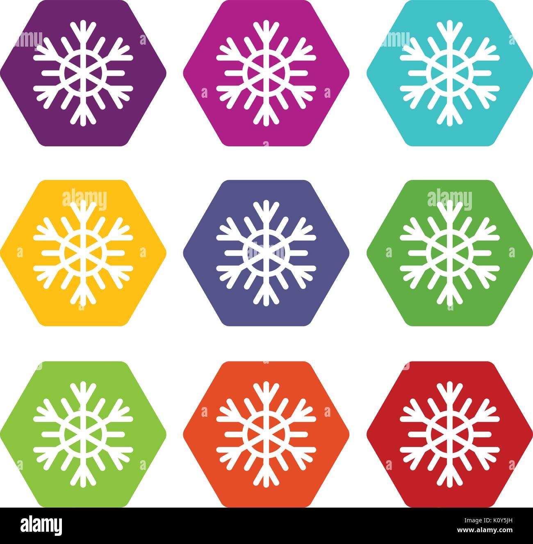 Snowflake icon set color hexahedron - Stock Image