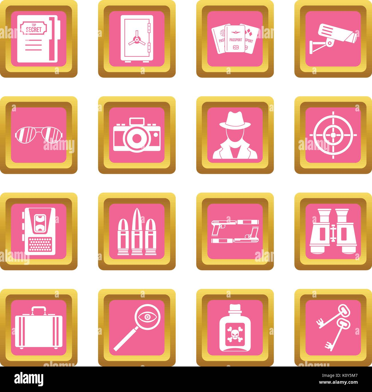 Spy tools icons pink - Stock Image