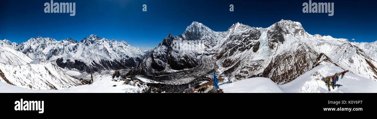 Lirung Il, Luri Himal and Langtang Lirung, Langtang Valley, Rasuwa, Nepal - Stock Image