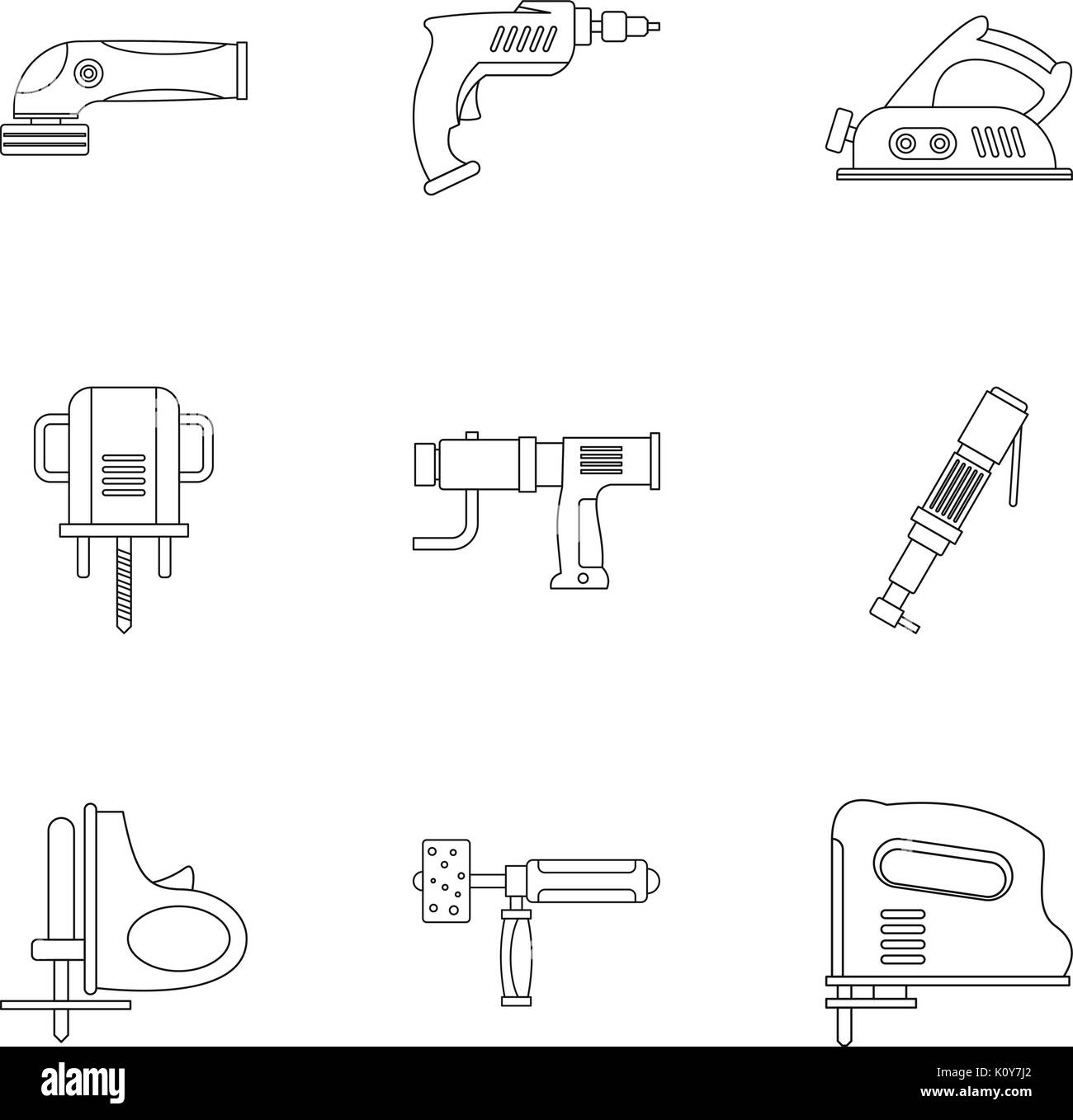 Construction tool icon set, outline style - Stock Image