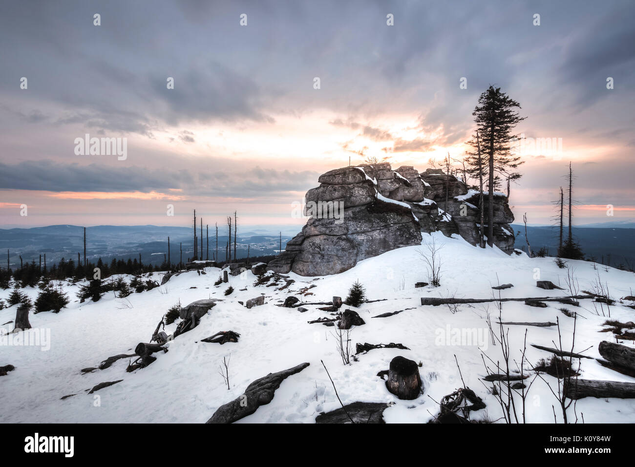 Winter landscape at Dreisessel, Haidmühle, Bavarian Forest, Niederbayern, Bavaria, Germany - Stock Image
