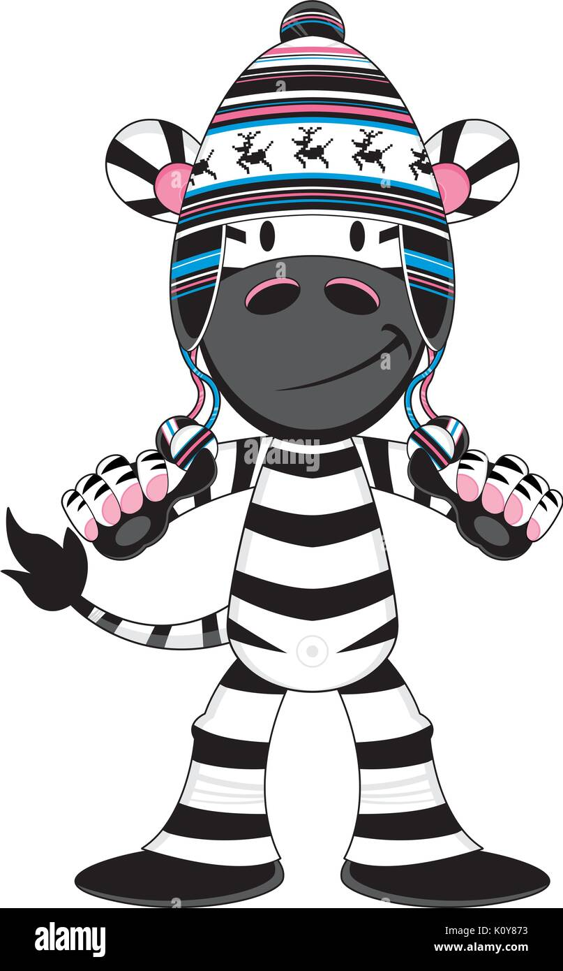 Cute Cartoon Zebra in Wooly Hat Vector Illustration - Stock Vector