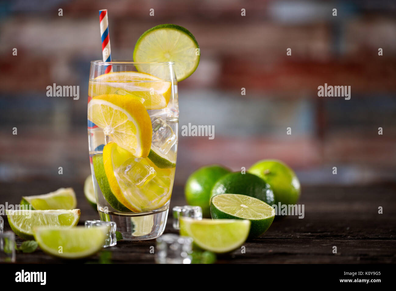 Citrus fruit fresh cocktail with water dieting in glass- healthy lifestyle concept Stock Photo