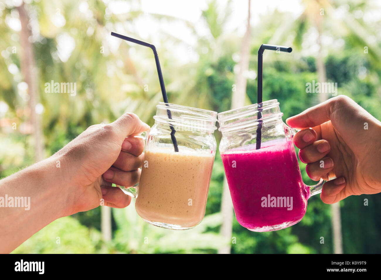 Two colorful fruit shakes in hands. Summer and tropical mood. Cold blended drinks, banana and dragon fruit smoothie. Clink glasses by couple hands - Stock Image